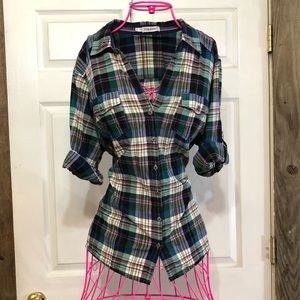Maurices plaid button up size 2